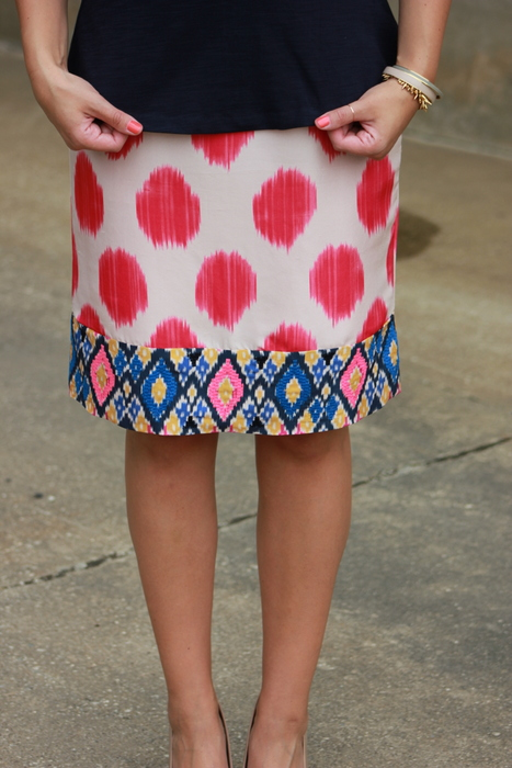 Sharing My Sole - Repeat Offender, Anthropologie Ikat Skirt, Water Color Skirt, J.Crew Peplum Top, Sole Society Wedges