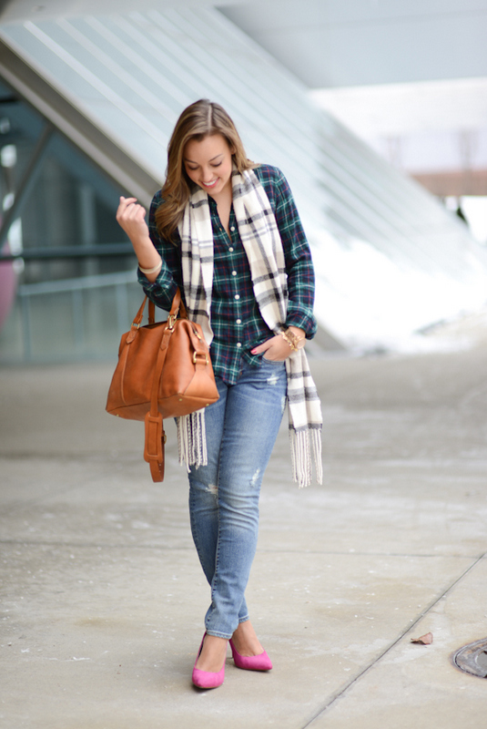 Sharing My Sole - Plaid & Distressed Denim